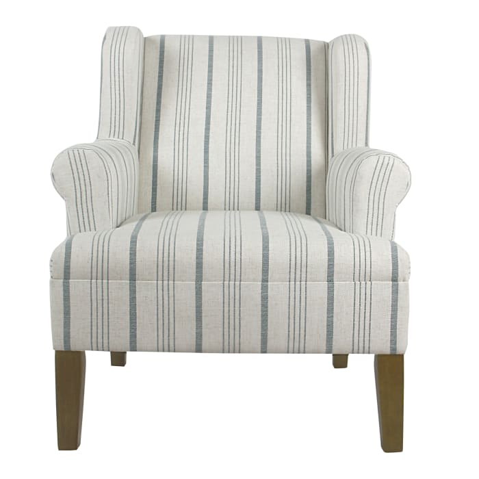 Blue Calypso Stripe Rolled Arm Accent Chair