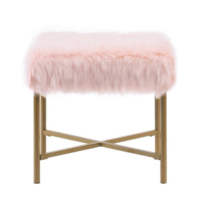 Pink Faux Fur Ottoman