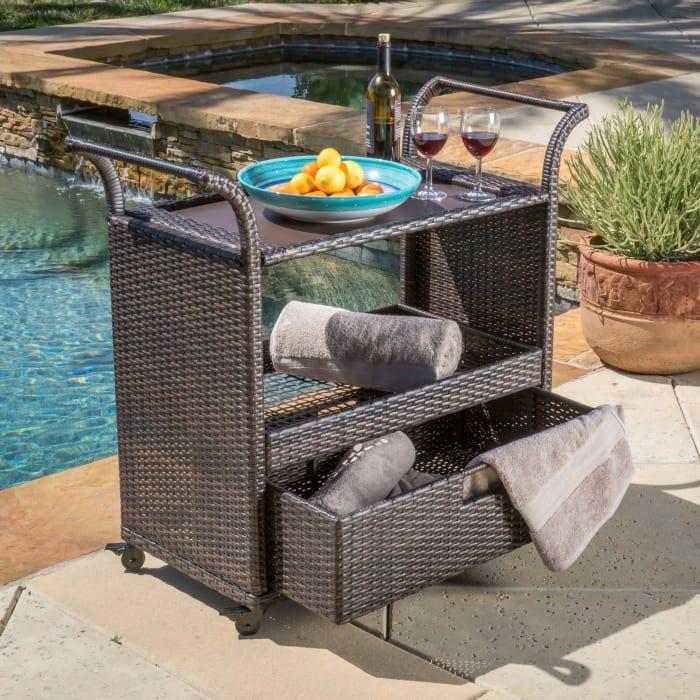 Outdoor Wicker Bar Cart