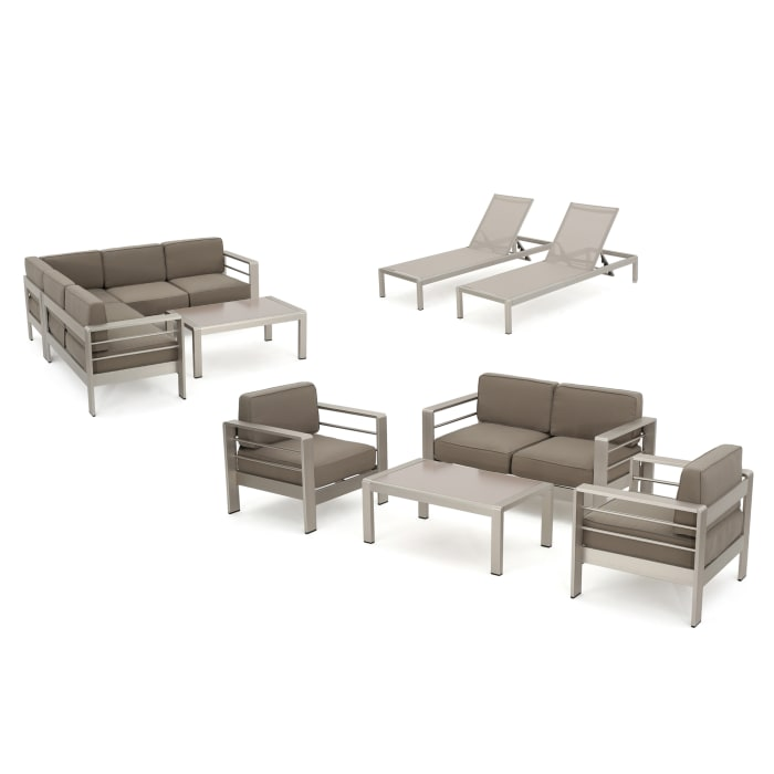 Outdoor Aluminum 10-Piece Chat Set with Cushions
