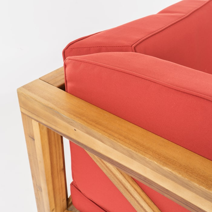 4-Piece Wooden Sectional Set with Red Cushions
