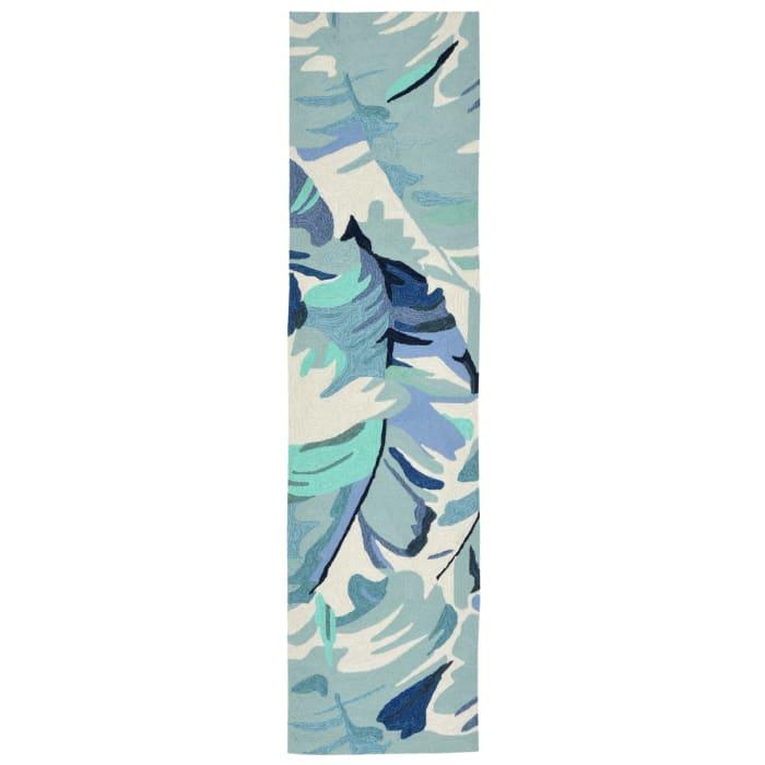Blue Palm Leaf 2' x 8'  Runner