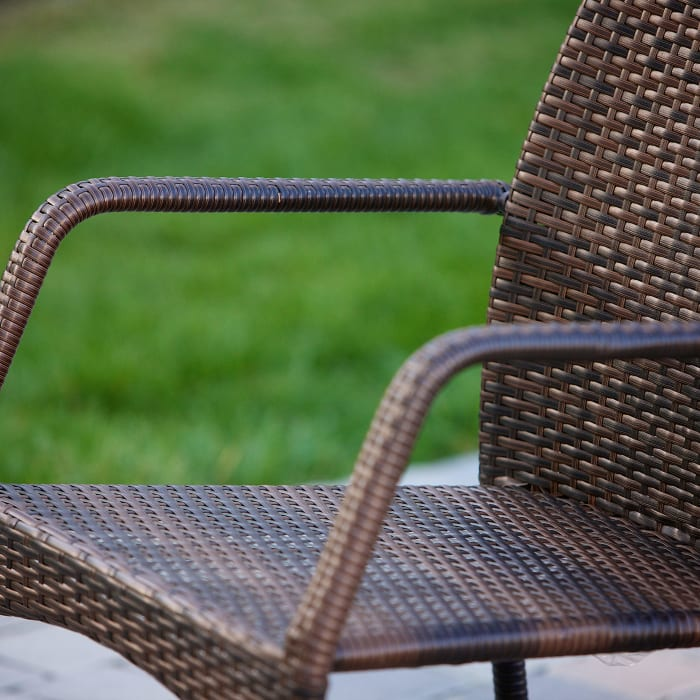 Outdoor 3-Piece Brown Wicker Stacking Chair Set