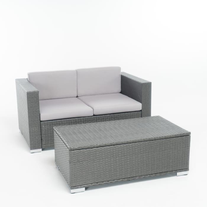 Gray 2-Piece Outdoor Sofa & Coffee Table Set
