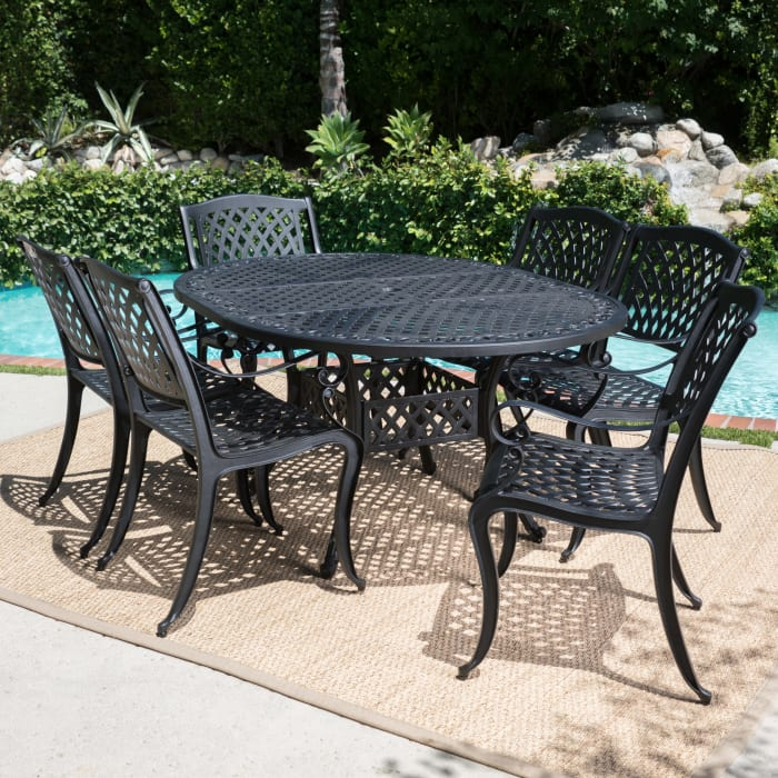 Black 7-Piece Dining Set with Expandable Dining Table