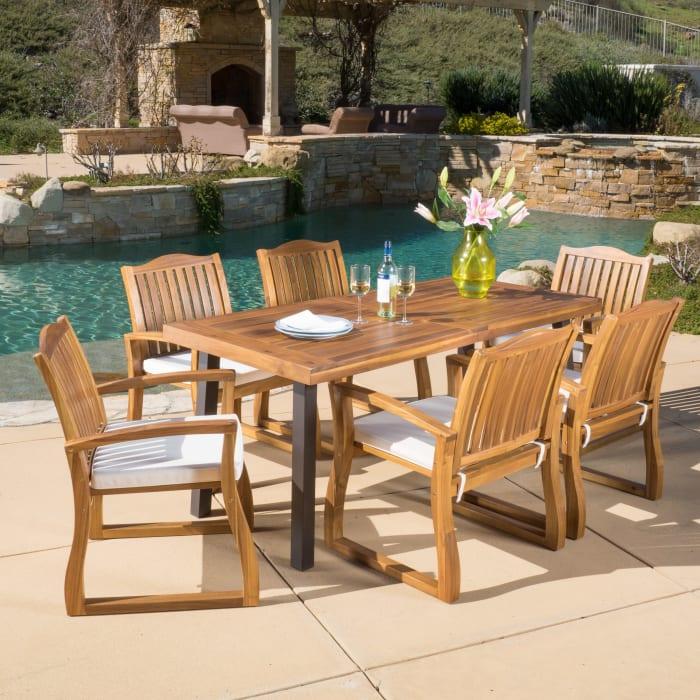 Teak Finish Acacia Wood 7-Piece Dining Set