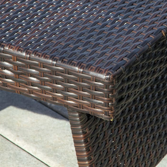 Brown Outdoor Chaise Lounges with Folding Table, 3-Piece Set
