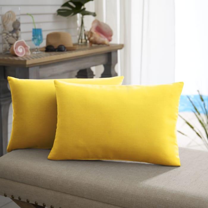 Sunbrella Knife Edge Set of 2 in Canvas Sunflower Yellow Outdoor Pillow