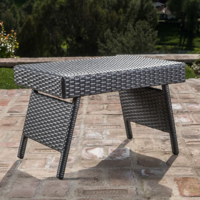 Gray Chaise Lounge & Table 3-Piece Set