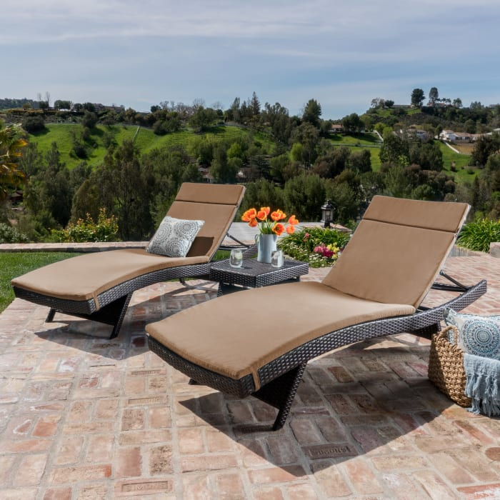 Brown Chaise Lounge with Caramel Cushions 3-Piece Set