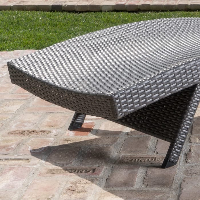 Gray Outdoor Chaise Lounges with Side Table, 3-Piece Set