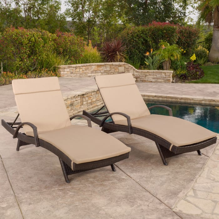 Arm Chaise Lounge with Caramel Cushions