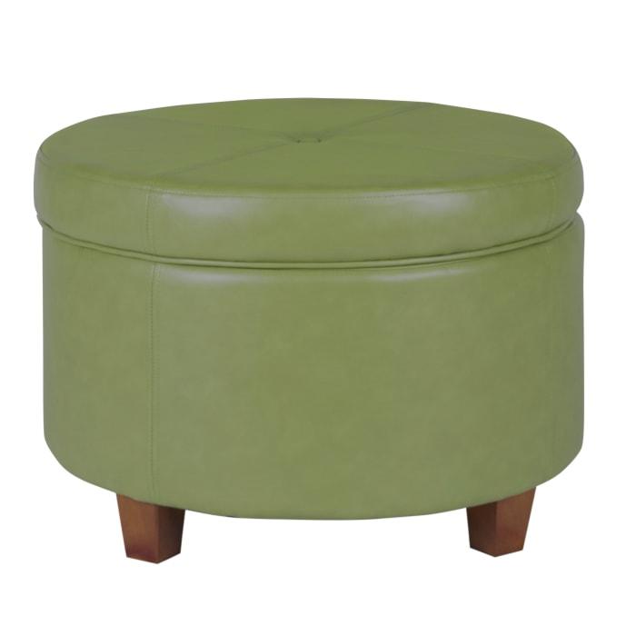 Green Faux Leather Round Storage Ottoman