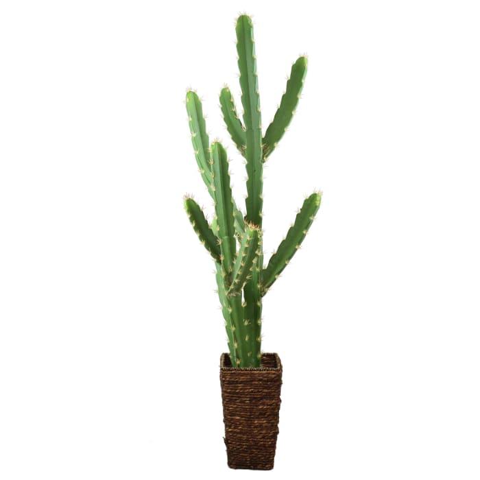 Faux Saguaro Cactus with Basket