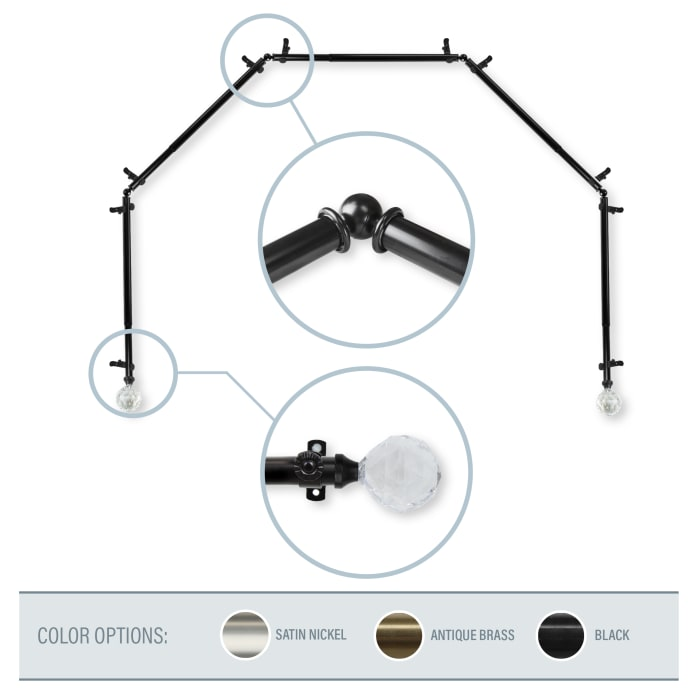 Lucent Black 5-Sided Bay Window Curtain Rod