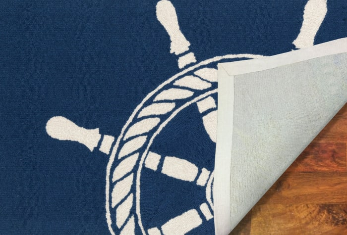 Ship Wheel Navy 2' x 5' Rug
