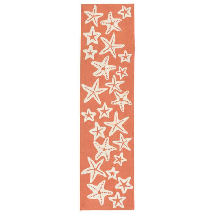 Orange Starfish Outdoor Rug 2' x 5'