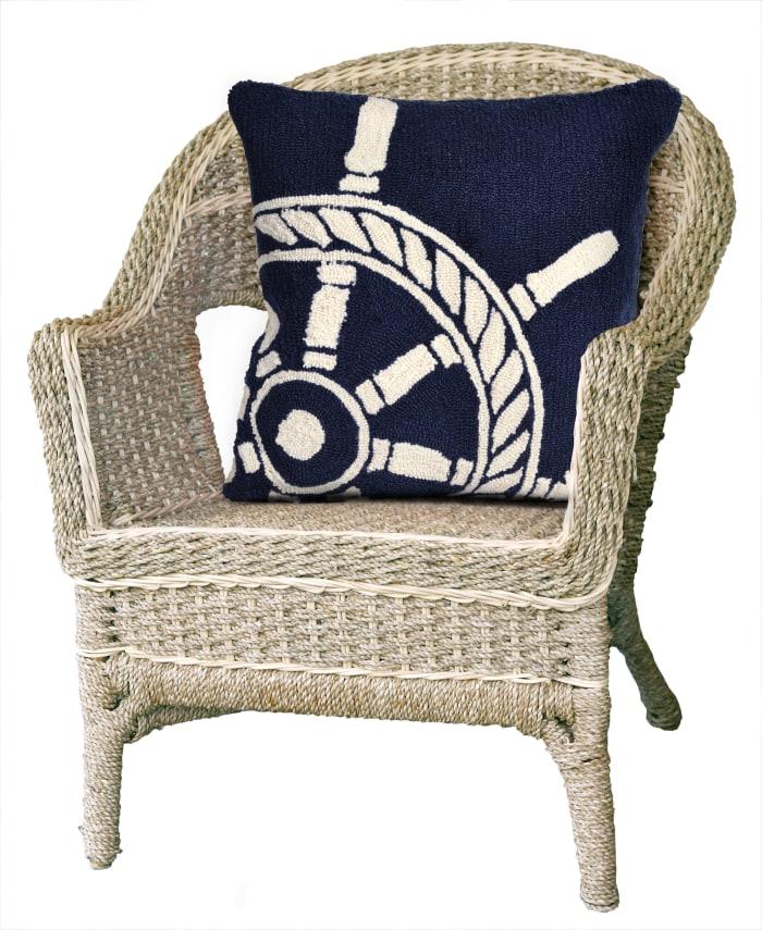 Front Porch Ship Wheel in Navy Polyester Outdoor Pillow