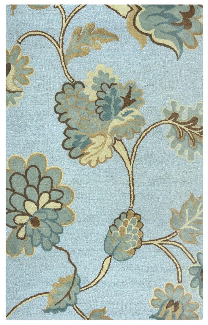 Blue Floral Wool Rug 0.5' x 0.75'