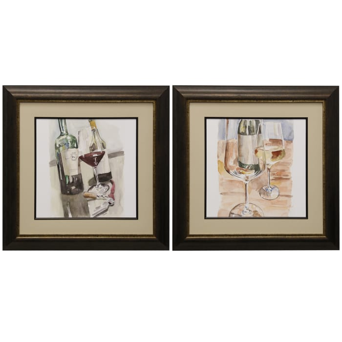 2-Piece Wine Glass Framed Prints Set