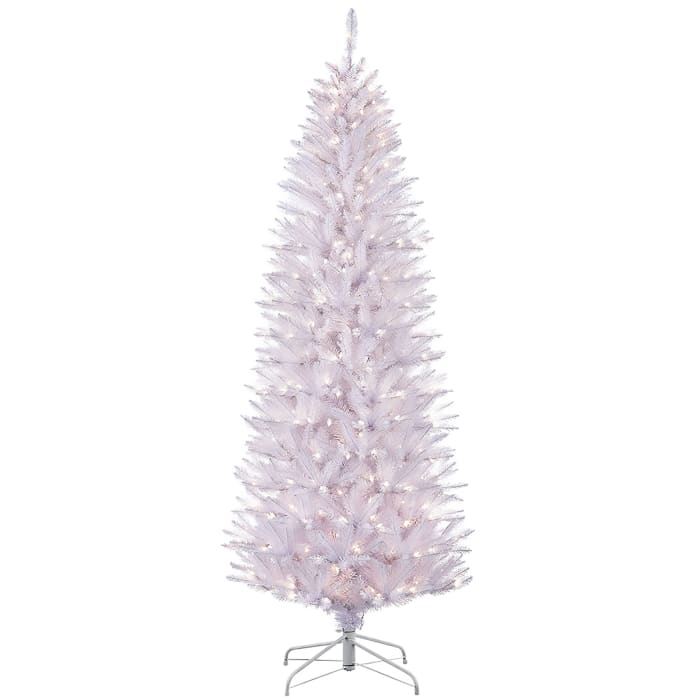 7.5' Pre-Lit Pencil White Fraser Fir Artificial Christmas Tree