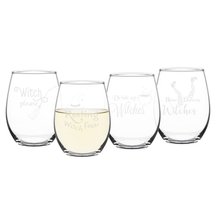 Drink Up Witches Stemless Wine Glass Set