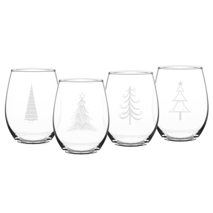 Holiday Trees Stemless Wine Glasses, Set of 4
