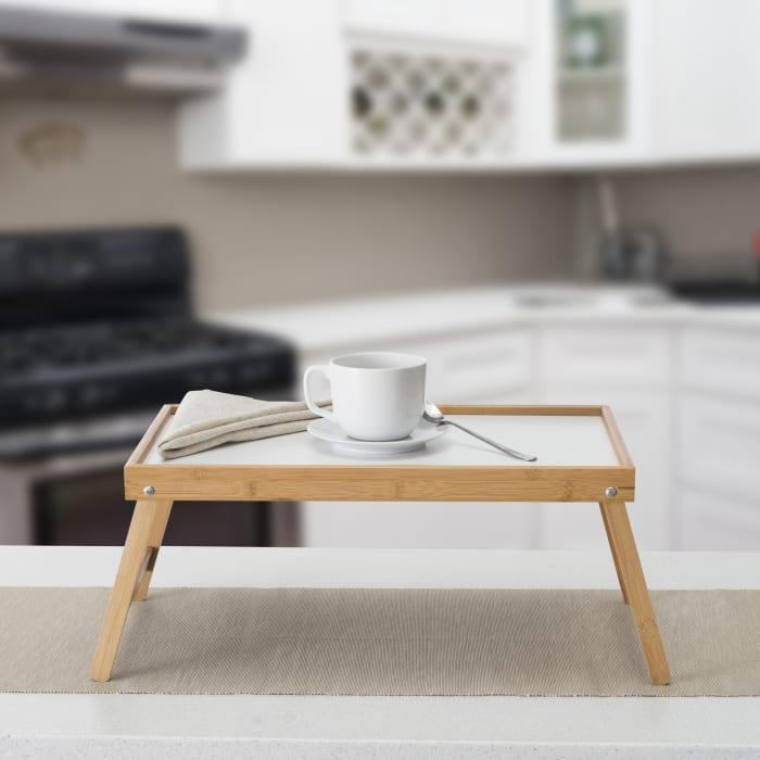Natural Bed Tray with White Surface