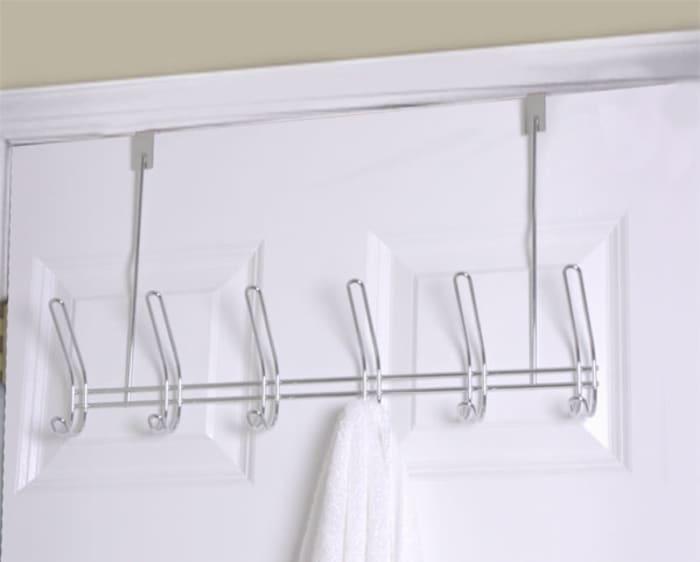 6 Dual Hook Over the Door Chrome Plated Steel Hanging Rack