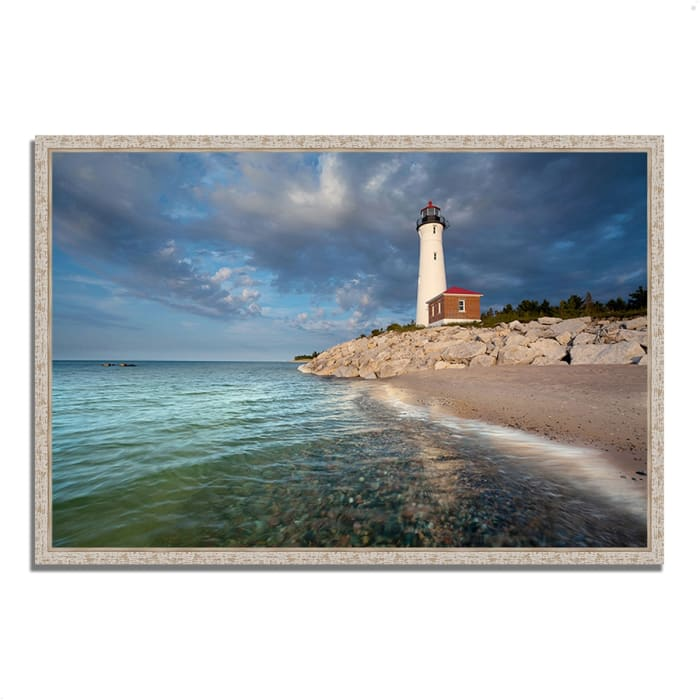 Fine Art Giclee Print on Gallery Wrap Canvas 47 In. x 32 In. Crisp Point Lighthouse Multi Color