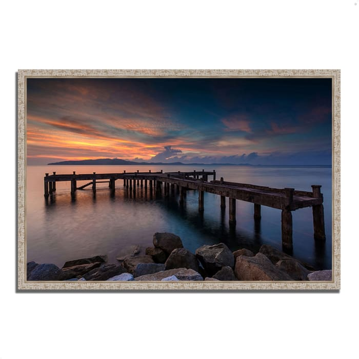 Fine Art Giclee Print on Gallery Wrap Canvas 38 In. x 26 In. Sunrise Jetty Multi Color