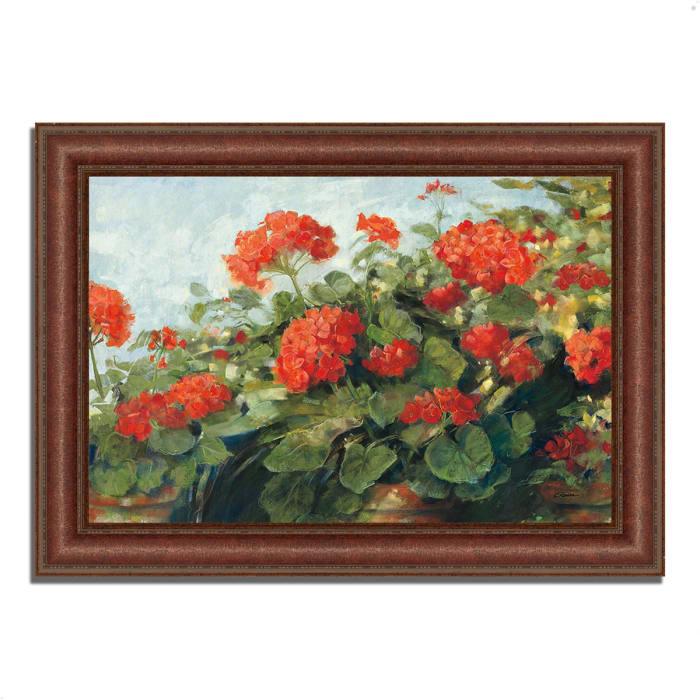 Framed Painting Print 37 In. x 27 In. Geranium Wave by Carol Rowan Multi Color