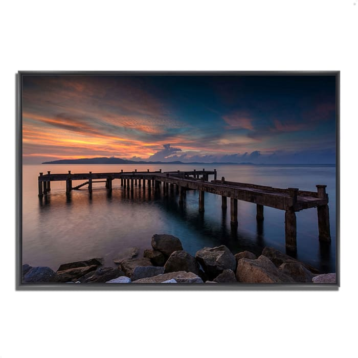 Fine Art Giclee Print on Gallery Wrap Canvas 32 In. x 22 In. Sunrise Jetty Multi Color