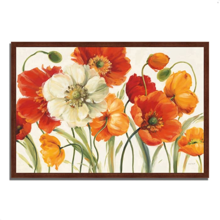 Framed Painting Print 38 In. x 26 In. Poppies Melody I by Lisa Audit Multi Color
