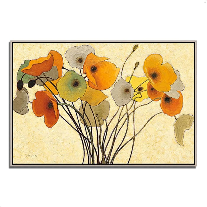 Fine Art Giclee Print on Gallery Wrap Canvas 38 In. x 26 In. Pumpkin Poppies I by Shirley Novak Multi Color