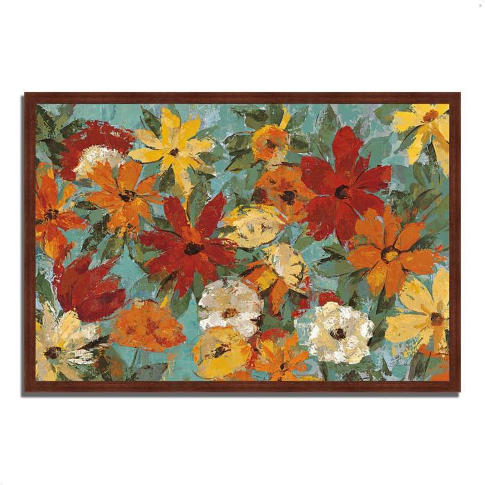 Framed Painting Print 47 In. x 32 In. Bright Expressive Garden by Silvia Vassileva Multi Color