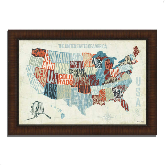 Framed Painting Print 36 In. x 26 In. USA Modern Blue by Michael Mullan Multi Color