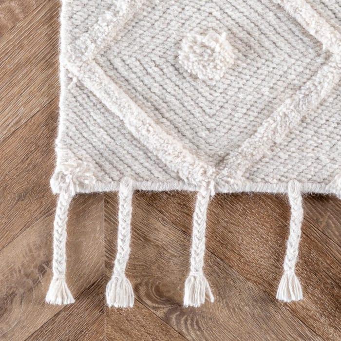 Hand Loomed Trellis Tassel Jinny 8' x 10' Ivory Wool and Cotton Rug