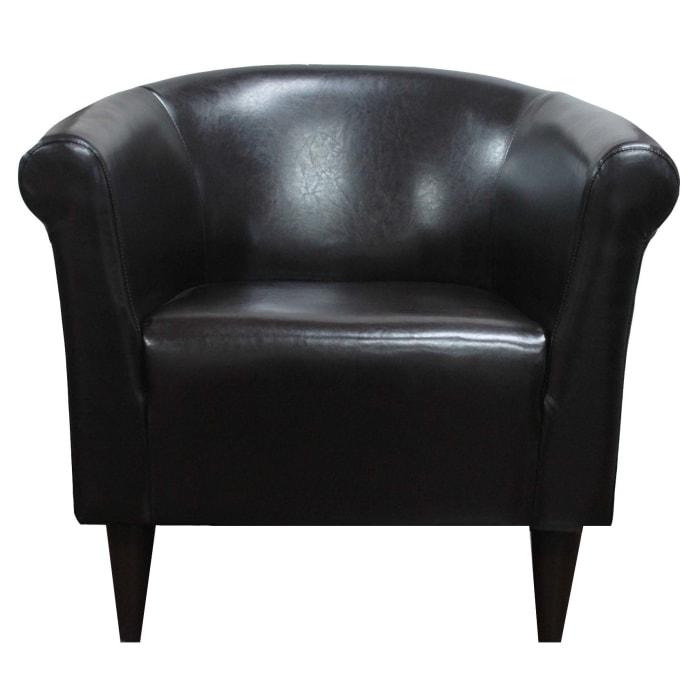 Marlee Walnut Brown Leatherette Club Chair