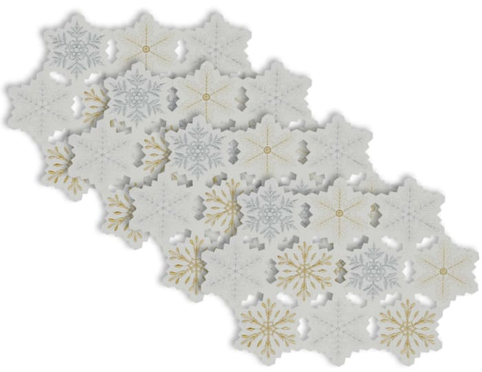 Embroidered Metallic Snowflakes Placemats Set of 4