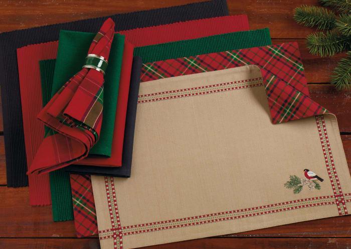 Ribbed Dark Green Placemats Set of 6