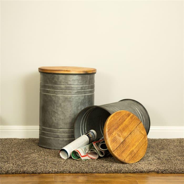 Galvanized Metal Storage Stool with Wood Seat Set of 2