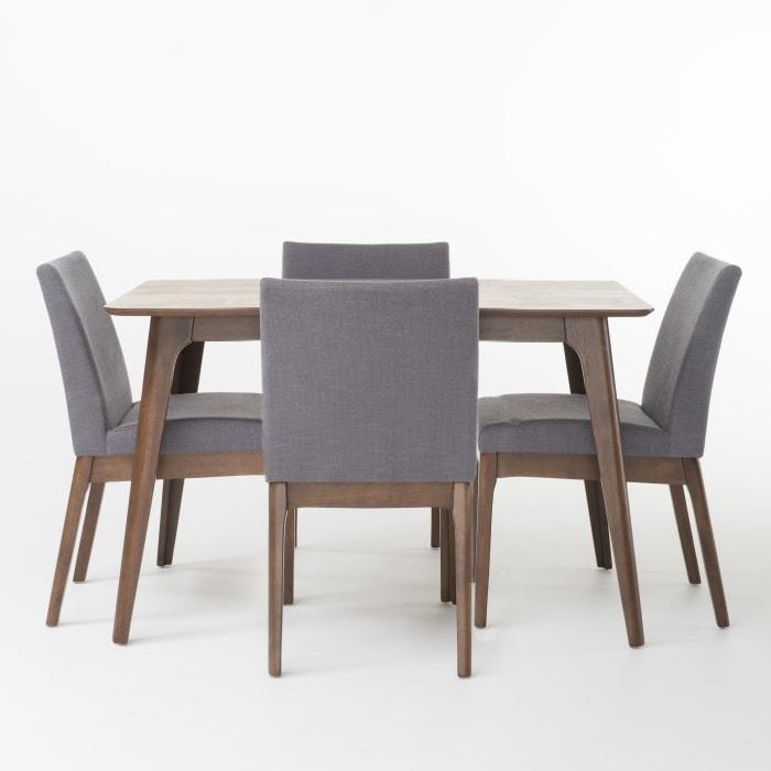 Dark Gray & Rubberwood 5 Piece Dining Set