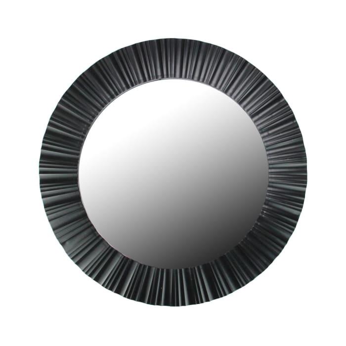 Elegant Black Fluted Frame Round Wall Mirror