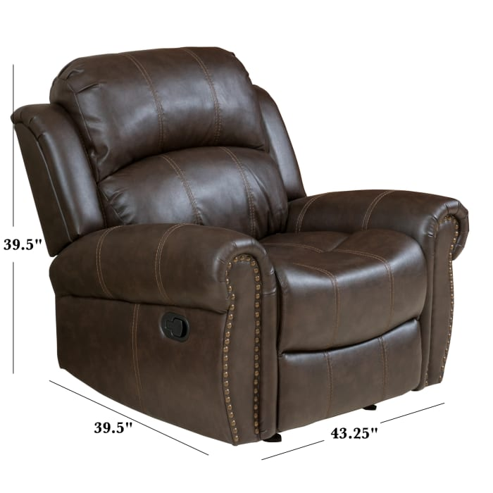Brown Faux Leather Gliding Recliner