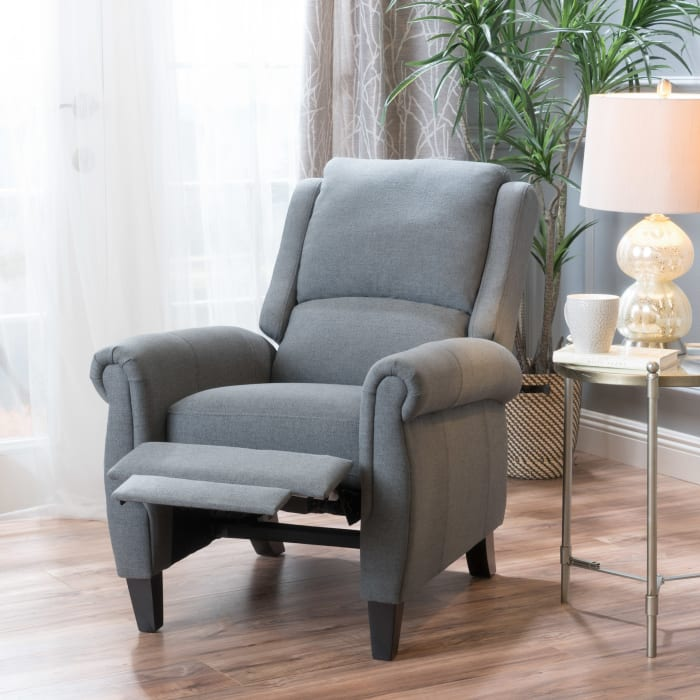Charcoal Gray Upholstered Recliner