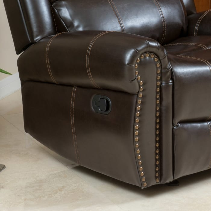 Dark Brown Faux Leather Gliding Recliner