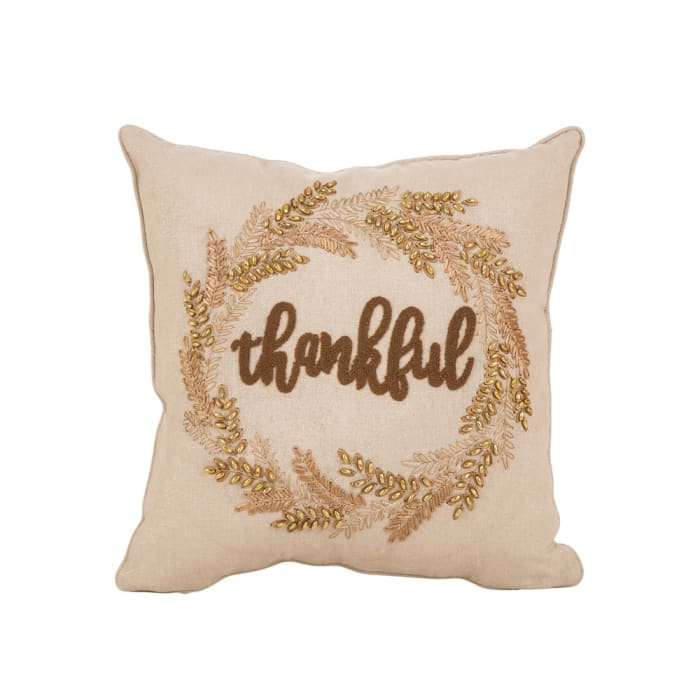 Embroidered Thankful Pillow