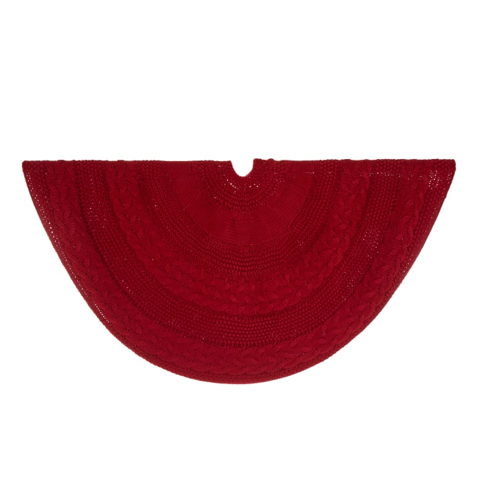 Red Knit Christmas Tree Skirt