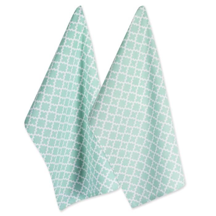 Geometric Aqua Dishtowel Set